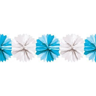 Ghirlanda decorativa cu pampoane albe si albastre - 5m, Radar