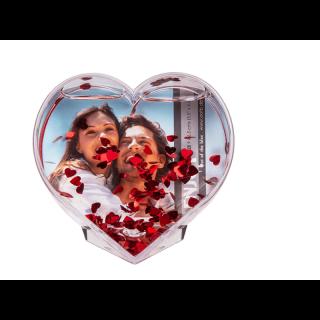 Glob 3D pentru fotografii cu confetti inimioare 9 x 9 cm