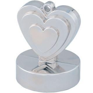 Greutate pentru baloane forma inima - argintie, 110 g, Qualatex