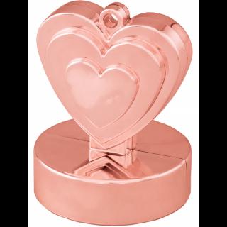 Greutate pentru baloane forma inima - rose gold, 110 g, Qualatex