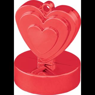 Greutate pentru baloane forma inima - rosu, 110 g, Qualatex
