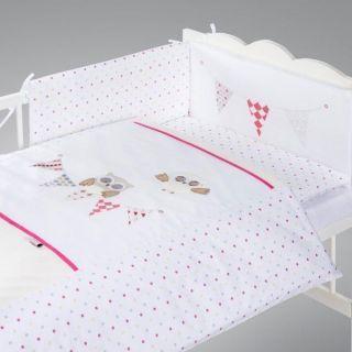 Albero Mio set lenjerie brodata 5 piese Night Birds - pink H237