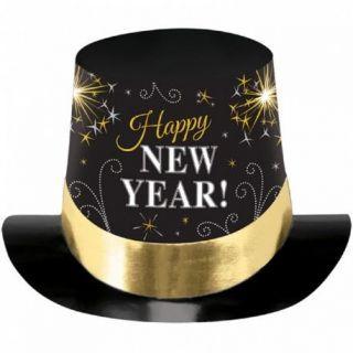 Joben Happy New Year negru cu auriu si argintiu - 18.5 x 29.7 x 24.7 cm, Amscan 25801