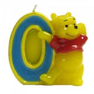 Lumanare aniversara Cifra 0 pentru tort cu Winnie the Pooh, Amscan, 1 buc
