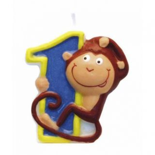 Lumanare aniversara Cifra 1 pentru tort Safari Monkey, Amscan, 1 buc