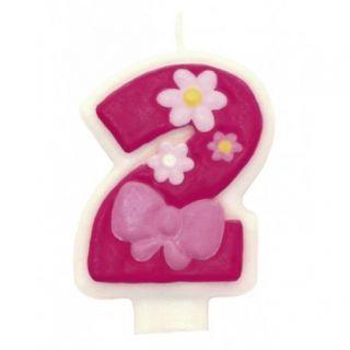 Lumanare aniversara Cifra 2 pentru tort cu floricele roz, Amscan, 1 buc