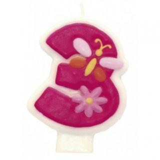 Lumanare aniversara Cifra 3 pentru tort cu floricele roz, Amscan, 1 buc