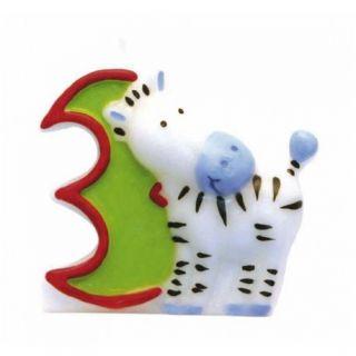 Lumanare aniversara Cifra 3 pentru tort Safari Zebra, Amscan, 1 buc