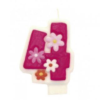 Lumanare aniversara Cifra 4 pentru tort cu floricele roz, Amscan