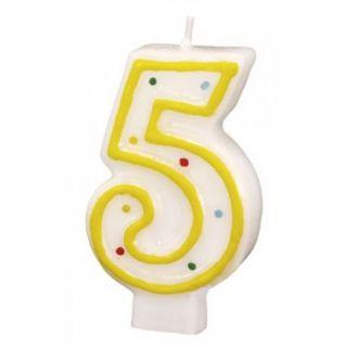 Lumanare aniversara Cifra 5 pentru tort cu buline colorate, Alb & Galben, Amscan, 1 buc
