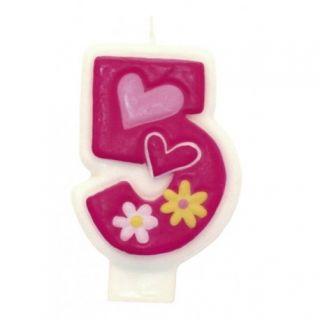 Lumanare aniversara Cifra 5 pentru tort cu floricele roz, Amscan, 1 buc