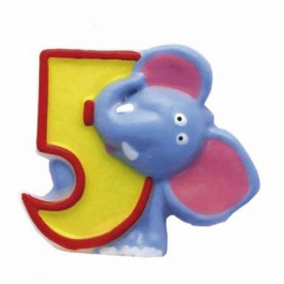 Lumanare aniversara Cifra 5 pentru tort Safari Elephant, Amscan, 1 buc