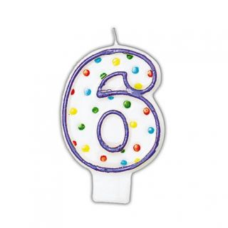 Lumanare aniversara Cifra 6 pentru tort cu buline colorate, Alb & Violet, Amscan, 1 buc