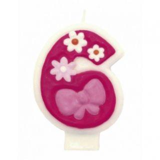Lumanare aniversara Cifra 6 pentru tort cu floricele roz, Amscan