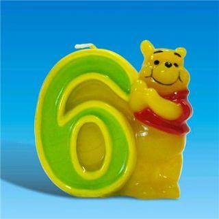 Lumanare aniversara Cifra 6 pentru tort cu Winnie the Pooh, Amscan, 1 buc