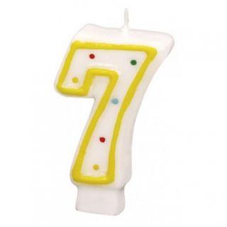 Lumanare aniversara Cifra 7 pentru tort cu buline colorate, Alb & Galben, Amscan, 1 buc