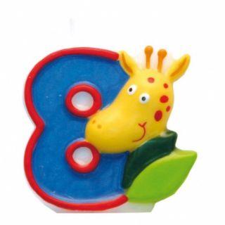 Lumanare aniversara Cifra 8 pentru tort Safari Girafa, Amscan, 1 buc
