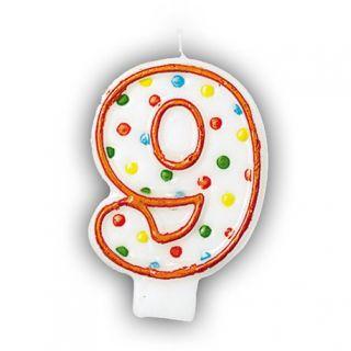 Lumanare aniversara Cifra 9 pentru tort cu buline colorate, Alb & Orange, Amscan, 1 buc
