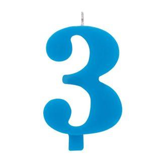 Lumanare aniversara pentru tort, Cifra 3, Albastru, Radar, 1 buc