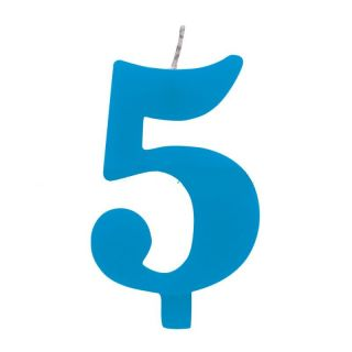 Lumanare aniversara pentru tort, Cifra 5, Albastru, Radar, 1 buc