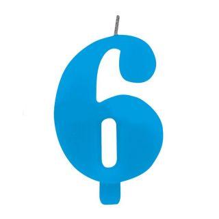 Lumanare aniversara pentru tort, Cifra 6, Albastru, Radar, 1 buc