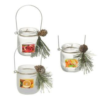 Lumanare parfumata cu crenguta - 8x8 cm, Radar 949040, arome diverse