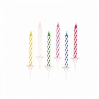 Lumanari aniversare cu suport pentru tort multicolore cu spirale, Amscan, Set 24 buc