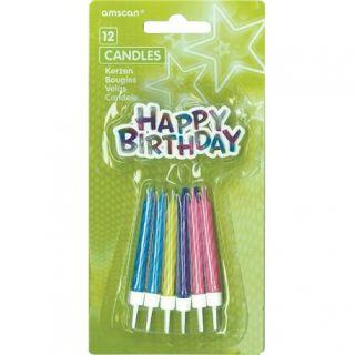 Lumanari aniversare pentru tort cu mesajul Happy Birthday, Amscan, Set 12 buc
