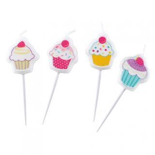 Lumanari aniversare pentru tort, Figurine prajituri, Amscan, Set 4 buc