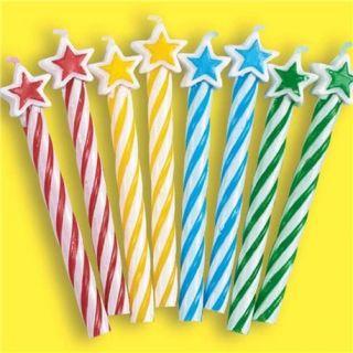 Lumanari aniversare pentru tort multicolore cu stelute, Amscan, Set 8 buc