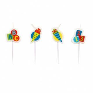 Lumanari pentru tort multicolore - Back to School, Radar, set 4 buc