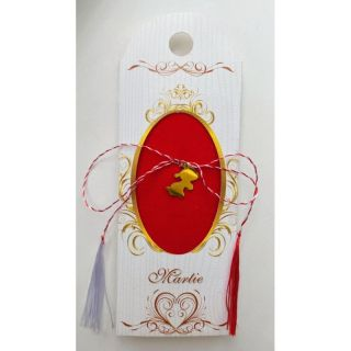 Martisor handmade placat cu aur 14K, catelus, 1,5 cm
