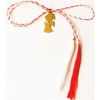 Martisor handmade placat cu aur 14K, fetita ingeras, 1,7 cm
