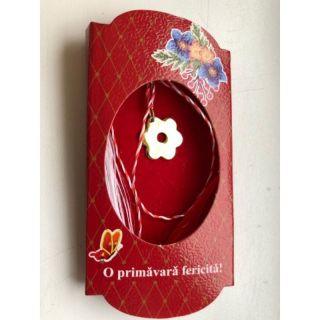 Martisor handmade placat cu aur 14K, floricica, 1,5 cm