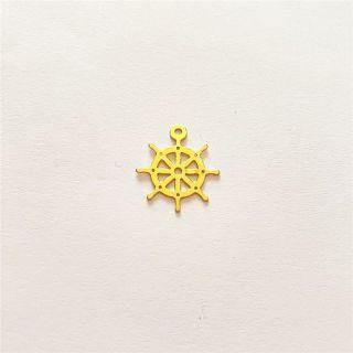 Martisor handmade placat cu aur 14K, timona, 1,6 cm