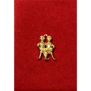 Martisor handmade placat cu aur 14K, ZODIA GEMENI , 2 cm
