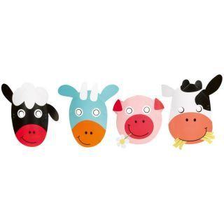 Masti copii pentru petrecere - Farm Fun, Amscan , Set 8 buc
