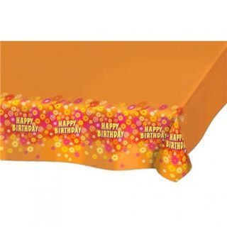 Napron orange pentru mese festive cu Happy Birthday, Amscan