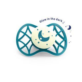 Nuvita Air.55 Cool! suzeta simetrica de noapte cu capac protector 0 luni+ - Glow Emerald - 7065