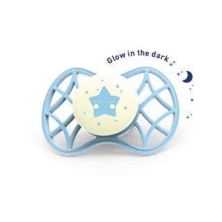 Nuvita Air.55 Cool! suzeta orthodontica de noapte cu capac protector 0 luni+ -Glow Aquamarine - 7064