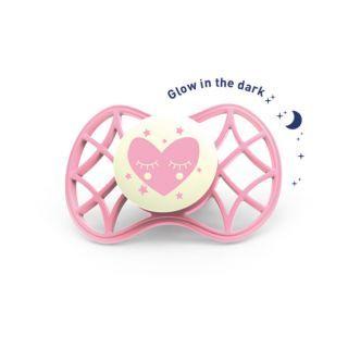 Nuvita Air.55 Cool! suzeta orthodontica de noapte cu capac protector 0 luni+ Glow Cashmere Rose-7064
