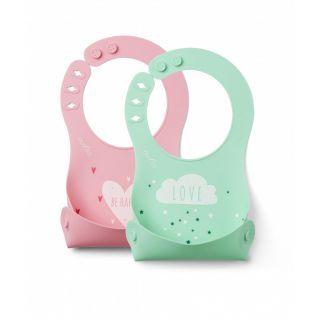 Nuvita Squashy baveta din silicon - green & pink - 4370