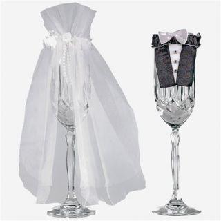 Ornamente pahare de sampanie miri pentru nunta, Amscan