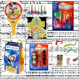 Pachet Party Pentru Baietei (masinuta, joc magic, mini pistoale cu apa, tatuaje, baloane de sapun, balon, vierme magic)