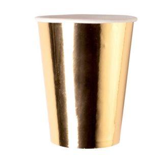 Pahare carton auriu - 250 ml, Radar 63539, set 8 bucati