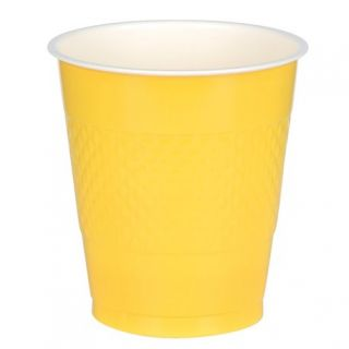 Pahare plastic Sunshine Yellow 355 ml pentru petrecere, Amscan 552287-09, Set 10 buc