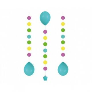 Panglica decorativa cu buline pentru baloane cu heliu, 100 cm, Radar 9902241, 3 buc/set