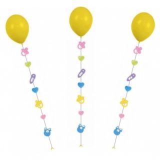 Panglica decorativa pentru baloane cu heliu - Baby - 9 x 7 x 100 cm, Radar 9902239, 3 buc/set
