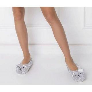 Papuci pufosi de casa forma ursulet - gri, Radar , diverse marimi