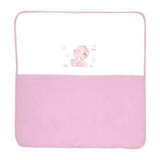 Patura bumbac bebe, ZA ZA, 90x90 cm, Pink